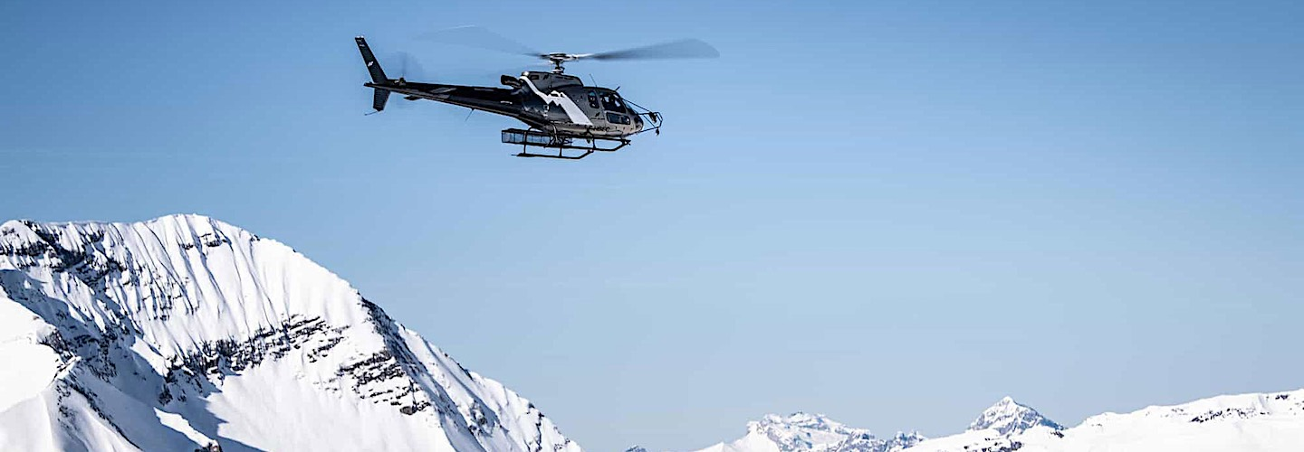 an overflight of Mont Blanc in the helicopter